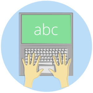 Illustration of a person typing on a laptop.