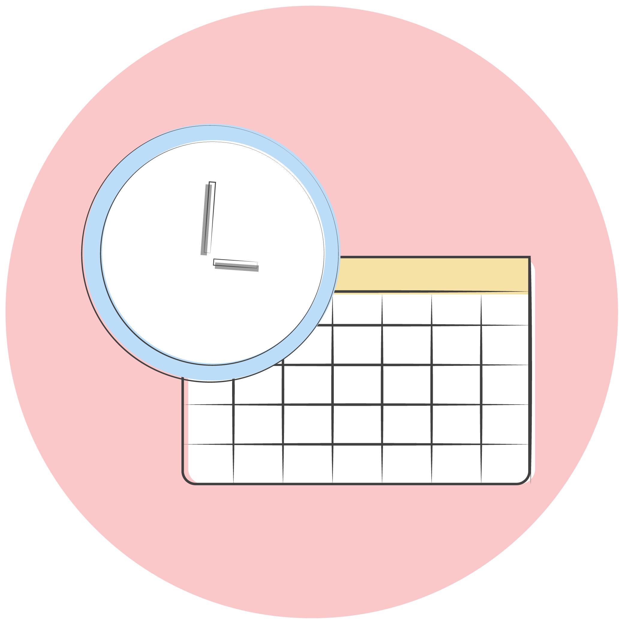 Freelance writer's calendar with a clock